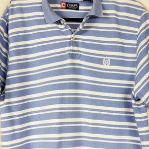 Chaps Mens Shirt Polo Blue White Striped Size XL